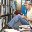 University student working in library — Stock Photo
