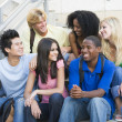 Group of university students sitting on steps - Foto Stock