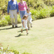 Stock Photo: Grandparents walking with grandchildren