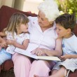 Stock Photo: Grandmother reading to grandchildren