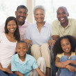 Extended family in living room smiling — Stock Photo #4763590