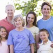 Extended family standing in park smiling — Stock Photo