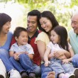 Extended family sitting outdoors smiling — Stock Photo #4763778