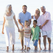 Extended family at the beach smiling — Stock Photo