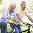 Couple on bikes outdoors smiling — Stock Photo #4764052