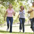 Two couples running outdoors smiling — Stock Photo #4764125