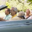 Two couples in convertible car smiling — Stock Photo #4764131