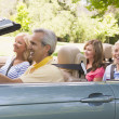 Family in convertible car smiling — Stock Photo
