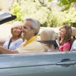 Stock Photo: Family in convertible car smiling