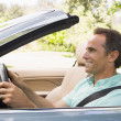 Min convertible car smiling — Stock Photo #4764169