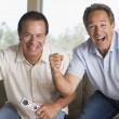 Two men in living room with remote control cheering and smiling — ストック写真