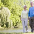 Couple walking outdoors at park by lake smiling - Stock Photo