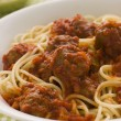 Bowl of Spaghetti Meatballs in Tomato Sauce — Foto de Stock