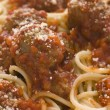 Stock Photo: Spaghetti Meatballs sprinkled with ParmesCheese