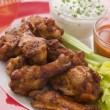 Spicy Buffalo Wings with Blue Cheese Dip Celery and Hot Chilli S - Stock Photo