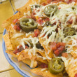 Platter of Nachos with Salsa Jalapenos and Cheese - Stok fotoğraf