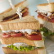 Stock Photo: Toasted Triple Decker Club Sandwich with Fries