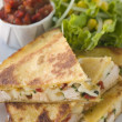 Quesadillas with Cajun Chicken Cheese Tomato Salsa and corn Sala — Stock Photo