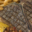 T-Bone Steak with Fries Corn and Beans — Stok fotoğraf