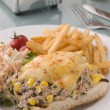 Stock Photo: Open Tunand Sweet corn Melt with Coleslaw and Fries