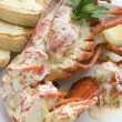 Lobster Newburg with Toast and Lemon - Stok fotoğraf