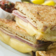 Fried Monte Cristo Sandwich with Salsa and Chips - Foto Stock