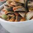 Royalty-Free Stock Photo: Bowl of Manhattan Clams with Hot Chilli Sauce