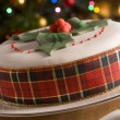Decorated Christmas Fruit Cake — Stockfoto