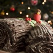 Chocolate Yule Log - Stock Photo