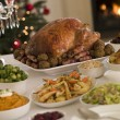 Christmas Roast Turkey with all the Trimmings — Stock Photo