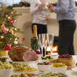 Boxing Day Buffet Lunch Christmas Tree and Log Fire — Stock Photo
