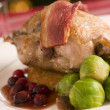 Roast Partridge Potato Cake Brussel Sprouts and Cranberry Jus — Stock Photo