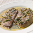 Foie Gras seared in Garlic Butter - Stock Photo