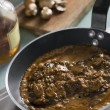 Steak Diane in a Saut pan - Stock Photo