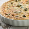 Broccoli and Roquefort Quiche in a Flan Dish - Стоковая фотография