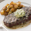 Entrecote de Beouf&#039; with Roquefort Butter and Parmentier Potatoe - Stock Photo