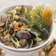 Saut ed Clams with Fennel and Orange - Stock Photo