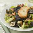 Salad Maison - Boudin Noir Bacon and Mushrooms - Stock Photo