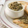 Green Olive Tapenade with toasted baguette — Stock Photo #4765706