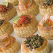 selection of cocktail vol au vents — Stock Photo
