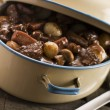 Casserole Dish With Beef Bourguignonne — Stock Photo