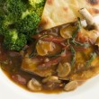 Sauteed Chicken Chasseur with Broccoli and Pomme Anna - Stock Photo