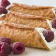 Cream Brandy Snaps with Raspberries - Zdjęcie stockowe