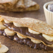 Crepes filled with Banana and Chocolate Hazelnut Spread — Stock Photo