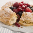 Stock Photo: Paris Brest with Mixed Berries and Hazelnuts