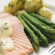 Poached Salmon with Asparagus and Sorrel Sauce - Stock Photo