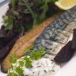 Smoked Mackerel Beetroot Salad with Horseradish Cream - Stock Photo
