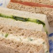 Stock Photo: Afternoon TeFinger Sandwiches- Egg and Cress Smoked Salmon and