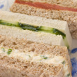 Afternoon Tea Finger Sandwiches- Egg and Cress Smoked Salmon and - Stock Photo