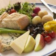 Stilton and Mature Cheddar Ploughman's - Stock Photo
